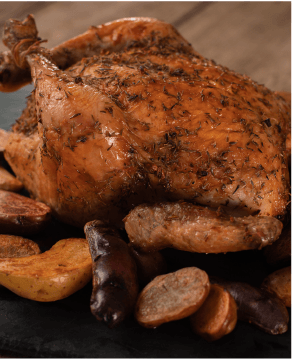Roasted chicken with pan-roasted potatoes