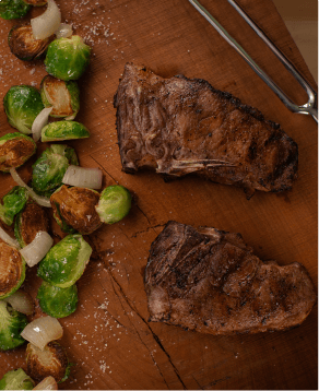 American Iberico Chops, served with brussels sprouts cooked in bacon